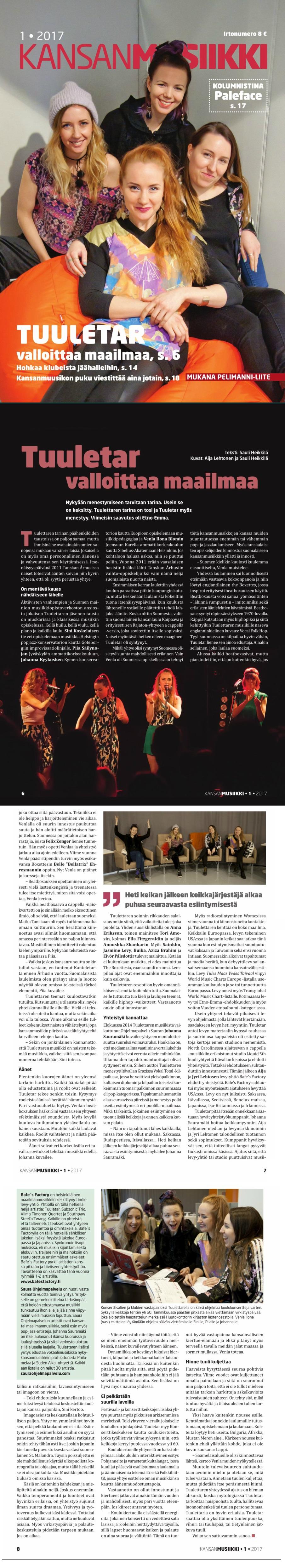 Kansanmusiikki-lehti, 1/2017